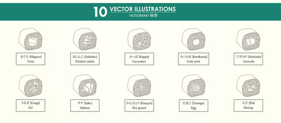 HAND-DRAWN vector illustrations set - japan food - hosomaki - only line