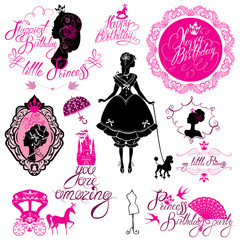 Set of glamour Princess, castle, carriage, black and pink silhou