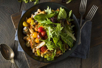 Healthy Organic Mediterranean Buddha Farro Grain Bowl