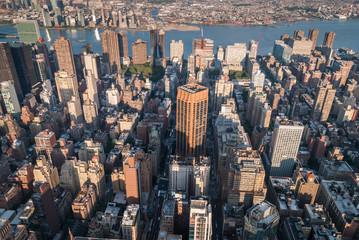 Aerial of Manhattan skyscrapers at sunset