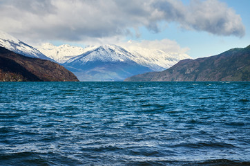 The Puelo Lake in Chubut, Argentina.
