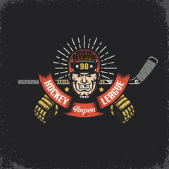 Head of of a hockey player with a stick, ribbon and gloves - retro logo. Layered vector illustration - grunge texture, text, background separately and can be easily disabled.
