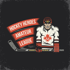 Ice hockey player with stick, puck and ribbon with inscription - vintage emblem. Layered vector illustration - grunge texture, text, background separately and can be easily disabled.