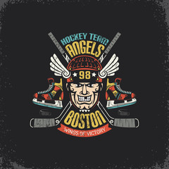 Vintage logo for hockey team with player head, crossed sticks, skates and puck. Layered vector illustration - grunge texture, text, background separately and can be easily disabled.