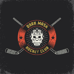 Hockey logo with retro goalie mask and crossed sticks. Layered vector illustration - grunge texture, text, background separately and can be easily disabled.