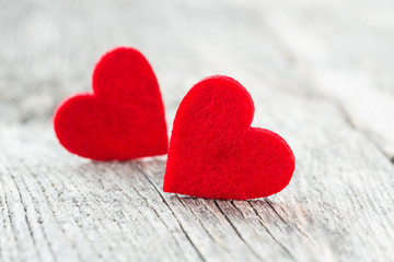 Valentines Day background with red hearts. Selective focus