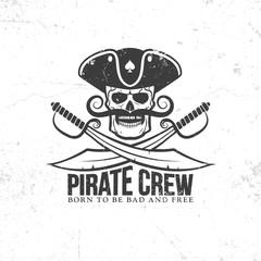Jolly Roger tattoo - pirate skull with a mustache, with swords on a white background. Grunge texture on separate layers and can be easily disabled.