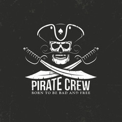 Pirates crew logo. Jolly Roger - skull with crossed sabers on a black background. Grunge texture on separate layers and can be easily disabled.