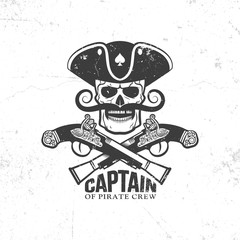 Pirate skull with mustache and crossed old pistols - vintage logo, tattoo. Grunge texture and background on separate layers.