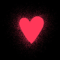 Red hand-drawn heart with splashes on a black background - template for valentine card. Vector illustration.