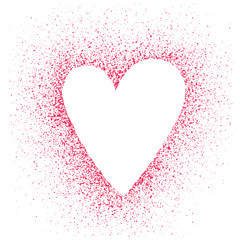 Stencil hearts on a background of red spray. Unusual frame as a valentines.