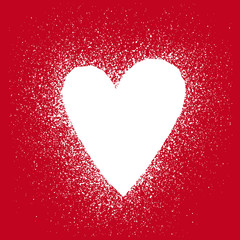 White silhouette of heart with a splashes on a red background - template frame for a valentines card. Vector illustration.