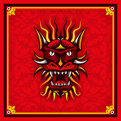 Head of red Chinese dragon on the ornamental background with oriental border. Vector illustration easy to edit.