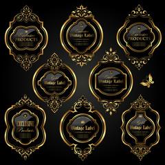 Dark gold-framed labels