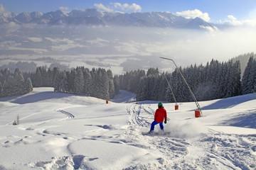 Snowboard - Allgäu - Tiefschnee - Pulverschnee - Panorama - Berge