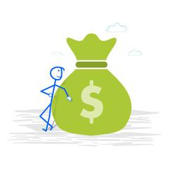 Happy businessman with money bag