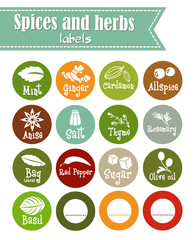 Spices, condiments and herbs web icon set illustration / Collection of herbs flat icon set / Spicy herbs silhouettes collection / Retro labels set for food packaging or Jar sticker kitchen design.