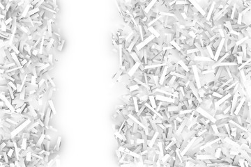 Tangled Pile of White Geometric Confetti Shapes on a Bright Back