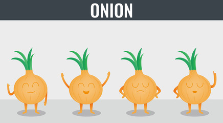 Onion. Funny cartoon vegetables. Organic food. Vector