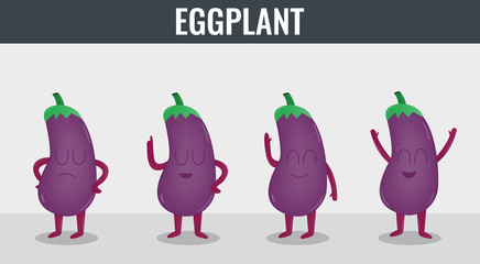 Eggplant. Funny cartoon vegetables. Organic food. Vector