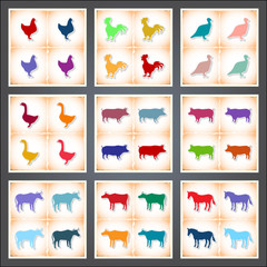Livestock and Poultry. A set of flat stickers with shadow on old paper