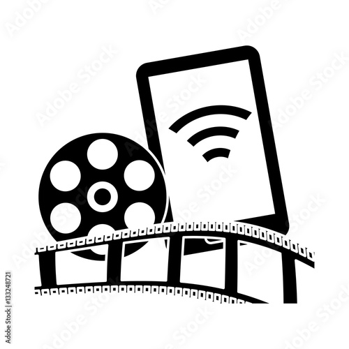 smartphone with film strip and reel icon over white background rh fotolia com