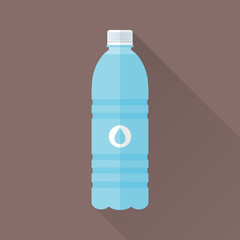 Plastic bottle of fresh water icon in flat style isolated on brown background. Stylized vector eps8 illustration.