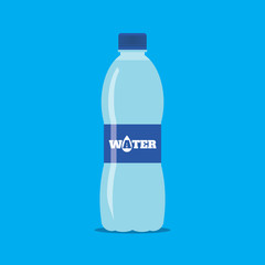 Plastic bottle of fresh water icon in flat style isolated on blue background. Stylized vector eps10 illustration.