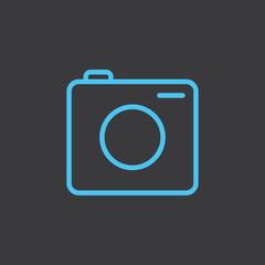 thin line camera blue icon on dark background