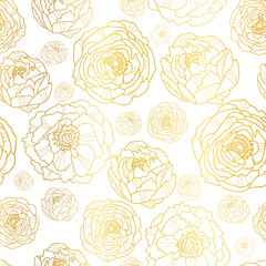Vector Golden On White Peony Flowers Summer Seamless Pattern Background. Great for elegant gold texture fabric, cards, wedding invitations, wallpaper.
