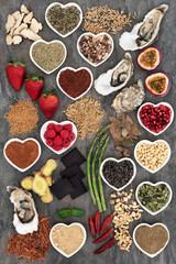 Aphrodisiac health food selection on marble background. Foods that improve sexual health.