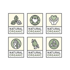 Isolated Vector Style Illustration Logo Set Badge Fresh Organic, Eco Product, Bio Ingredient Lable Badge with Leaf, Earth, Green Concept