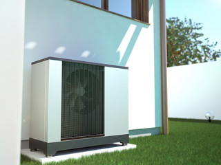 Air heat pump beside house