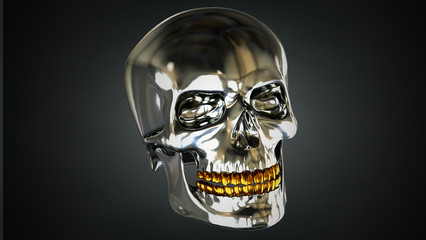 Super high res 3D Chrome and Gold skull