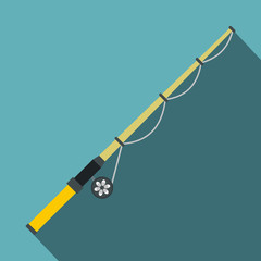 Rod and reel icon, flat style