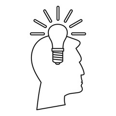 Light bulb idea icon, outline style