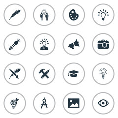 Set Of 16 Simple Creative Thinking Icons. Can Be Found Such Elements As Leader, Image, Plume And Other.