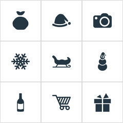 Set Of 9 Simple Celebration Icons. Can Be Found Such Elements As Sledge, Photography, Present And Other.