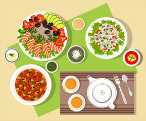 food tasty dinner eat meal lunch vector