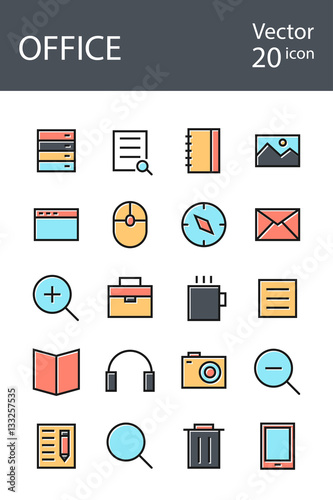 """Office icons set in retro style with mixed color, the ..."