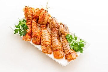 Mantis shrimps with tomatoes