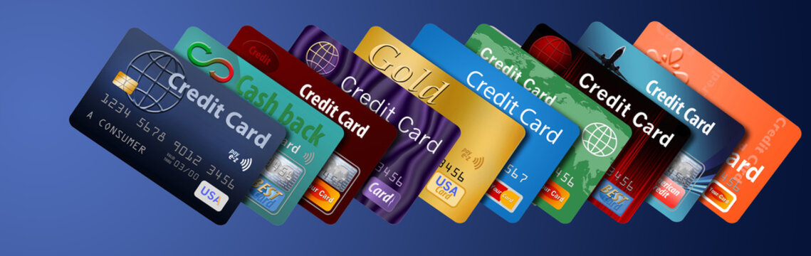 Credit cards lined up and stacked, many credit cards.