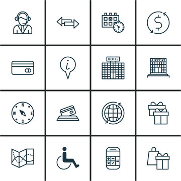 Set Of 16 Travel Icons. Includes Resort Development, Airfield Manufacture, Road Map And Other Symbols. Beautiful Design Elements.