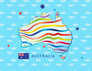 Australia day Poster with map of Australia and Australian flag on sea background. Vector Illustration.