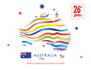 Australia day Poster with map of Australia and Australian flag. Vector Illustration. Holiday Festive background for greeting cards or web banners design. Advertising, Celebration, Congratulation.