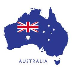 Australia map and flag on white background for Australia Day 26th January Holiday vector illustration. Advertising, Traveling, Promotion, Celebration.