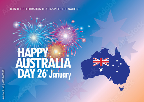 Australia Map With Flag.Happy Australia Day 26th January Inscription Poster With Australia