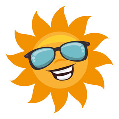 sun with sunglass character vector illustration design