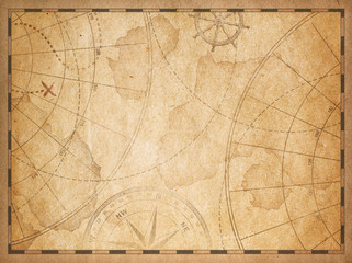 Wall Mural - old nautical map background