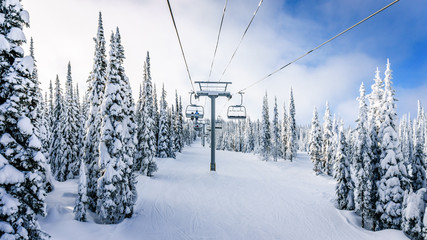 Wall Mural - Riding the Chair Lift in a Winter Landscape on the Ski Hills near Sun Peaks village in the Shuswap Highlands of central British Columbia, Canada